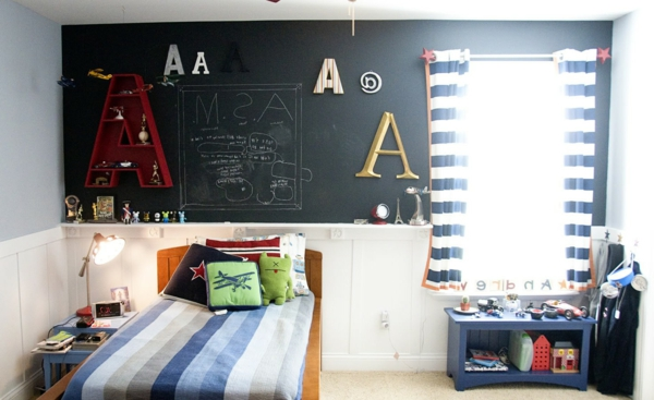 kinderzimmer vorhänge moderne gardinen schreibtafel schwarz