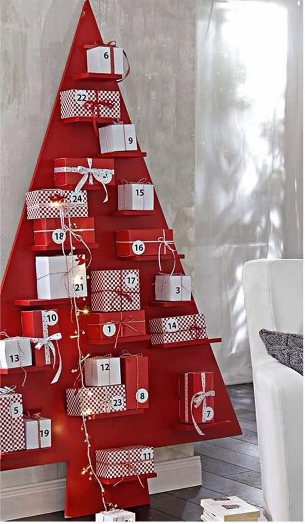 kleinigkeiten für adventskalender selber basteln diy ideen tannenbaum rot