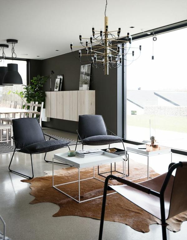 kuhfell teppich verlegen braun designer möbel wohnzimmer