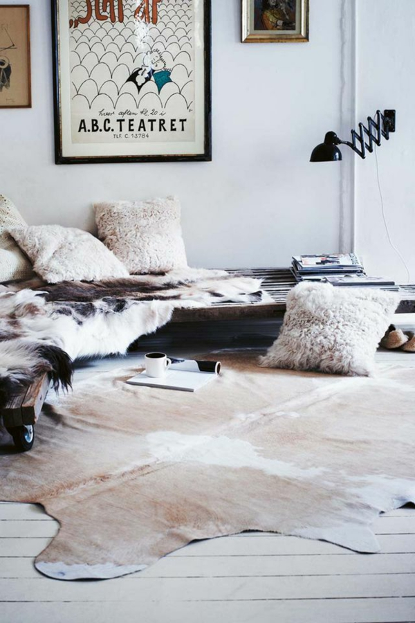 Kuhfell teppich wohnzimmer