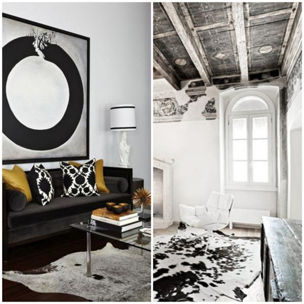 kuhfellteppich verlegen schwarz weiß wohnzimmermöbel rustikal