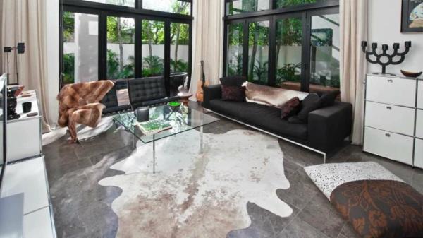 Kuhfell Teppich Verlegen Wohnzimmer Einrichten
