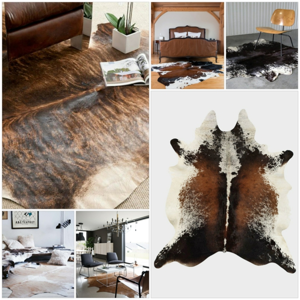 kuhfell teppich verlegen wohnzimmermöbel holzboden