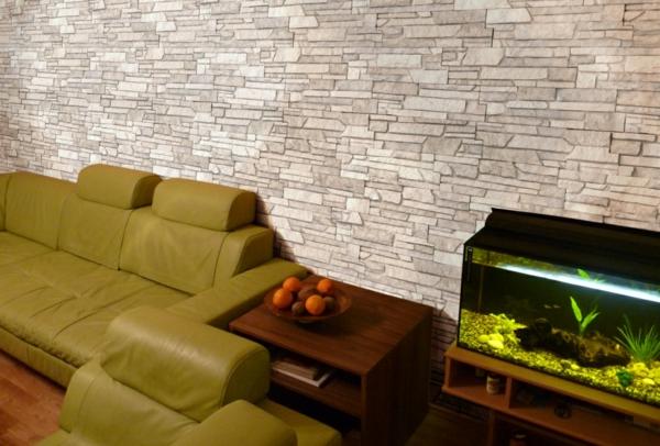 kunststein wandgestaltung gelbgrünes sofa