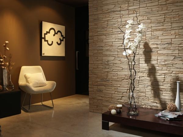 kunststein wandgestaltung kalkstein weiße orchideen
