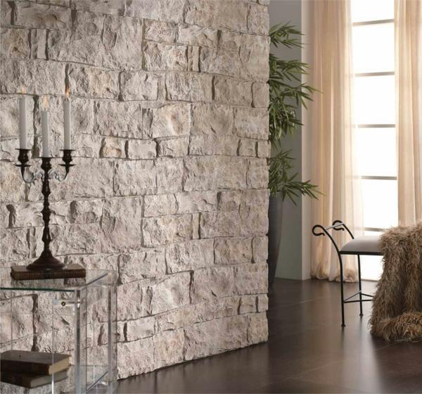 Naturstein Fur Wandverkleidung : Esszimmer Wandverkleidung Steinwand Dielenboden Freischwinger Stuehle