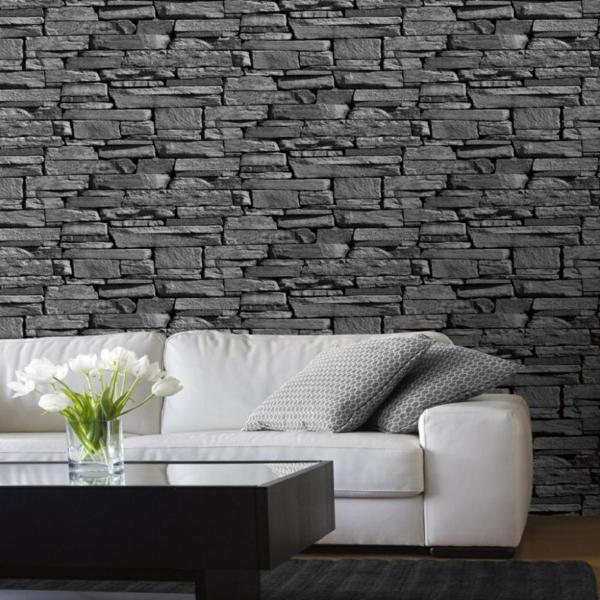 kunststein wandverkleidung weiße couch