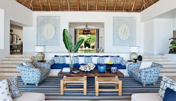 landhaus möbel gestreifter teppich bambus decke