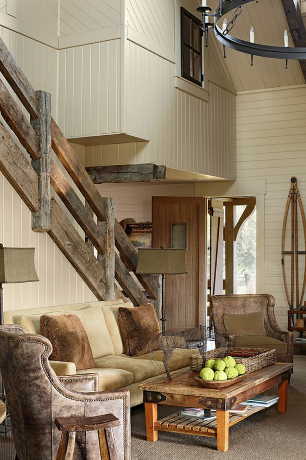landhaus möbel holzgeländer sofa gepolstert