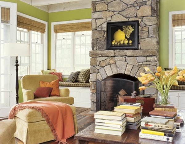 landhaus möbel natursteine kamin