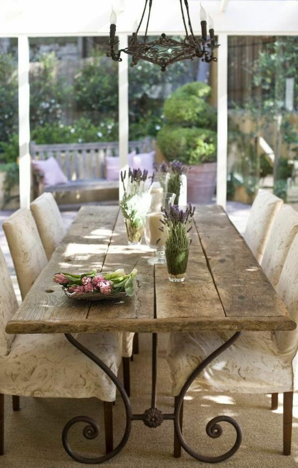 landhaus möbel robuster esstisch stühle