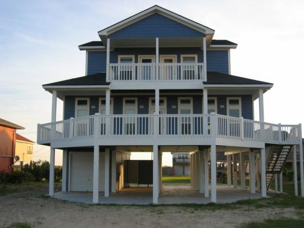 luxus fertighäuser grau weiße balkone