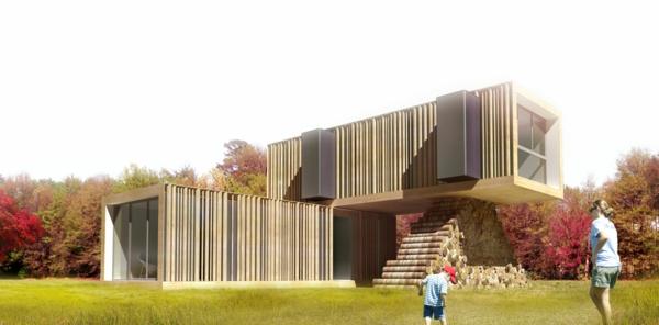 luxus fertighäuser zwei module naturholz