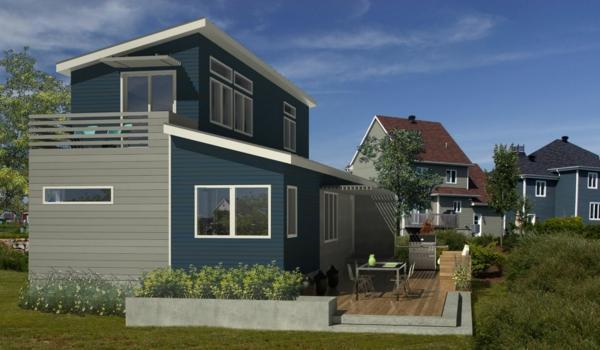 luxus fertighäuser grau fassade balkon