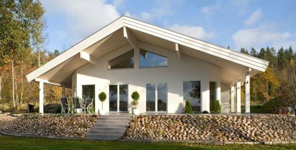 luxus fertighäuser weiß vorgarten natursteine