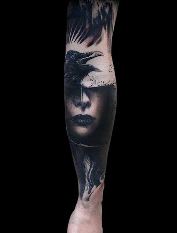 1001 oberarm und unterarm tattoo ideen vorlagen for Ravens face tattoos