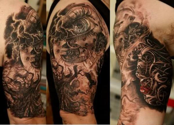 männer tattoos frauen vorlagen motive organisch mechanisch