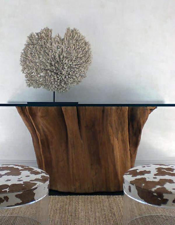 massivholz Couchtische glasplatte Baumstamm