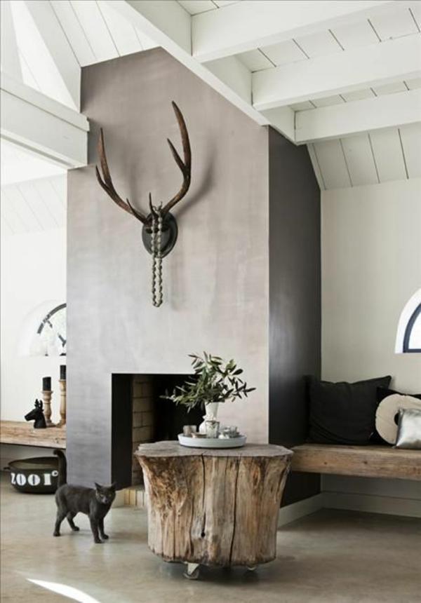 massivholz baumstamm tisch wohnzimmer