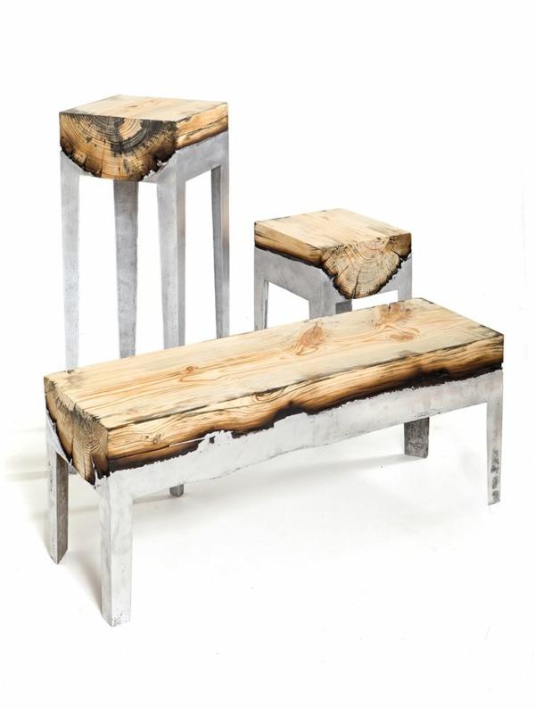 massivholz Couchtische Baumstamm möbel