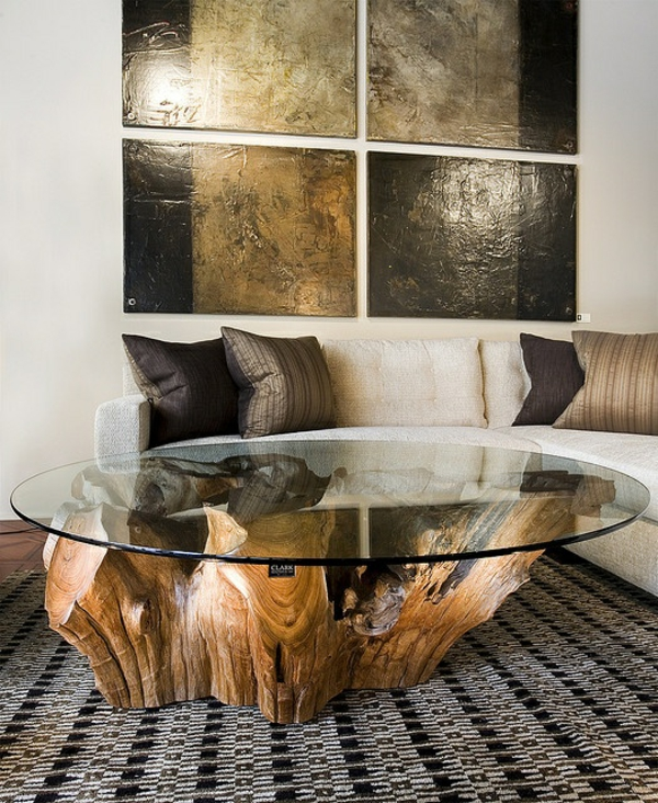 massivholz Couchtische aus Baumstamm rund glasplatte