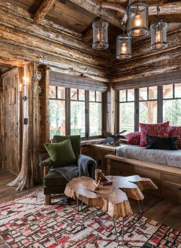 massivholz rustikal Couchtische aus Baumstamm teppich