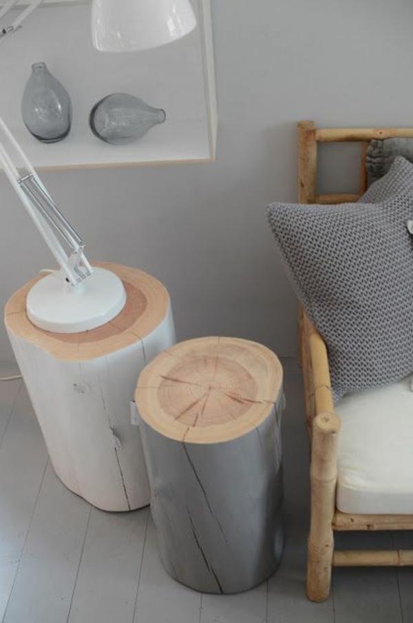 massivholz Couchtische aus Baumstamm tischlampe