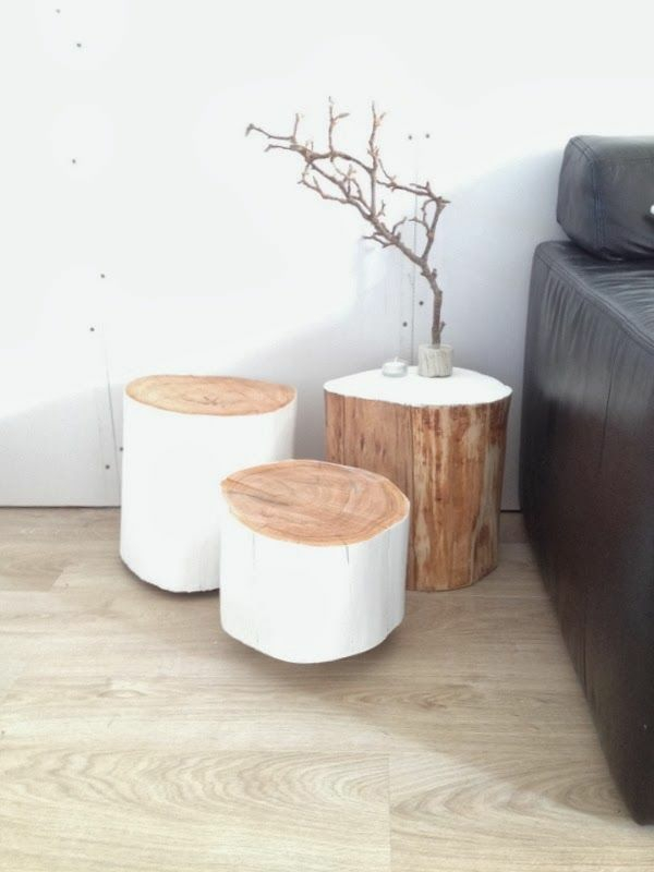 massivholz Couchtische Baumstamm weiß bemalt