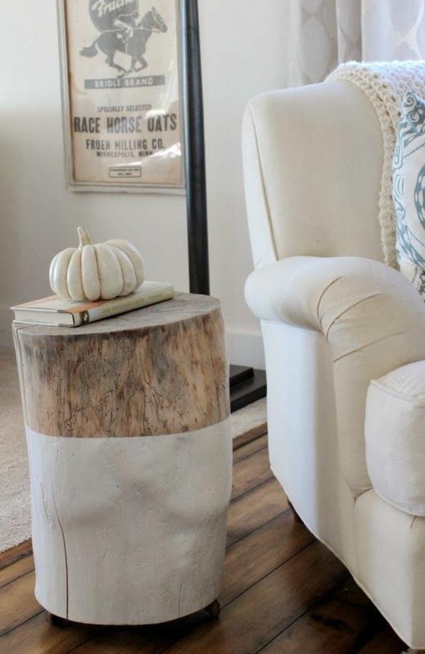 massivholz Couchtische aus Baumstamm weiß farbe