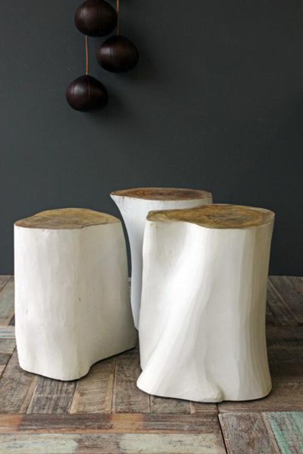 massivholz Couchtische Baumstamm weiß glanz