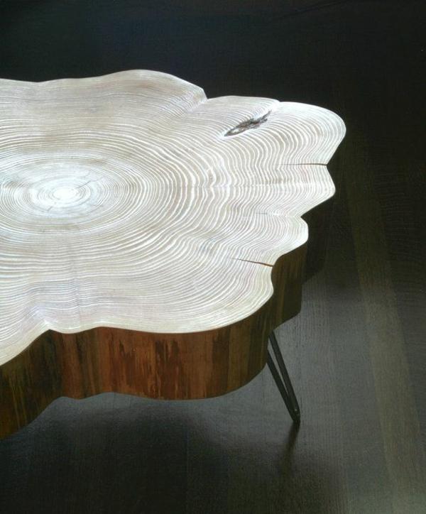 massivholz Couchtische Baumstamm wellen