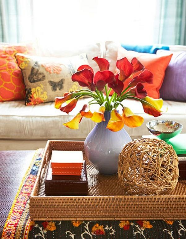 massivholz couchtisch dekorieren wohnzimmertische holz rattanmöbel