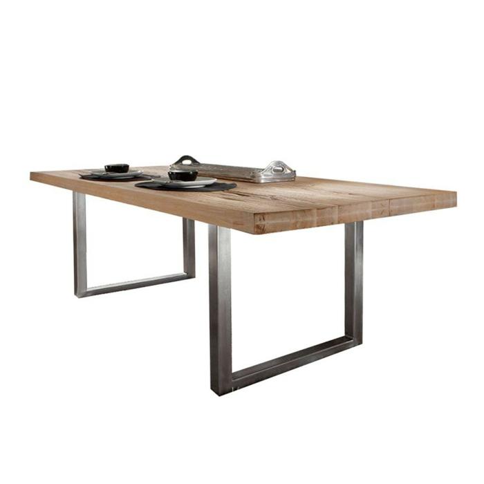 Massivholz Esstisch Mit Edelstahlbeinen : massivholzmöbel Design Esstisch Massivholz Balkeneiche Newok