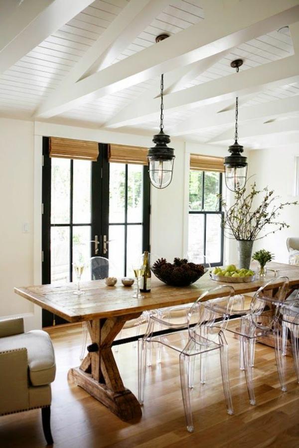 massivholzmöbel esszimmer modern acrylstühle esstisch rustikal echtholz