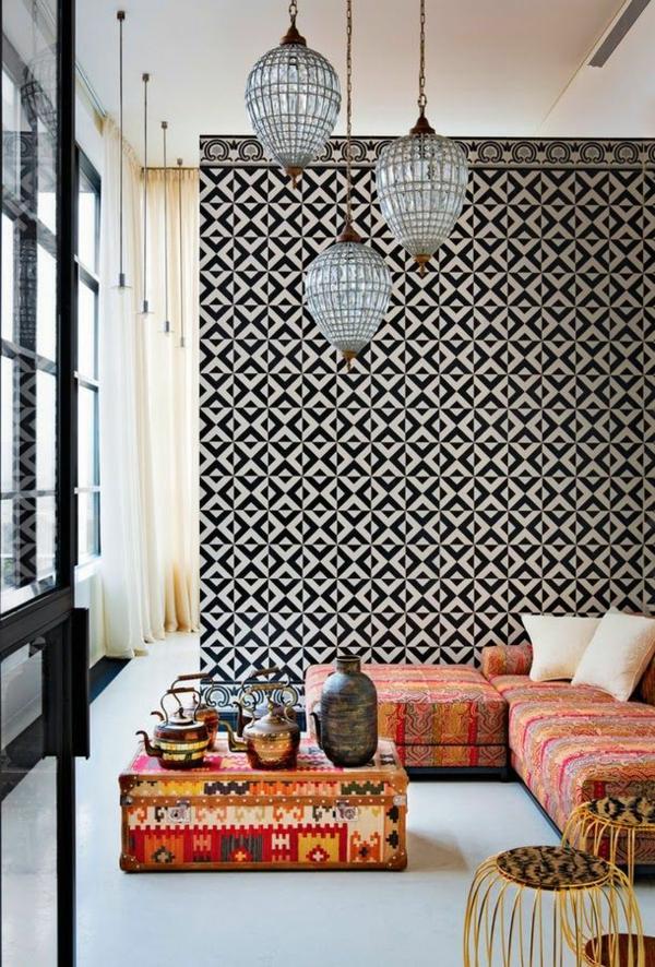 mustertapete sofa wohnlandschaft schwarz weiß