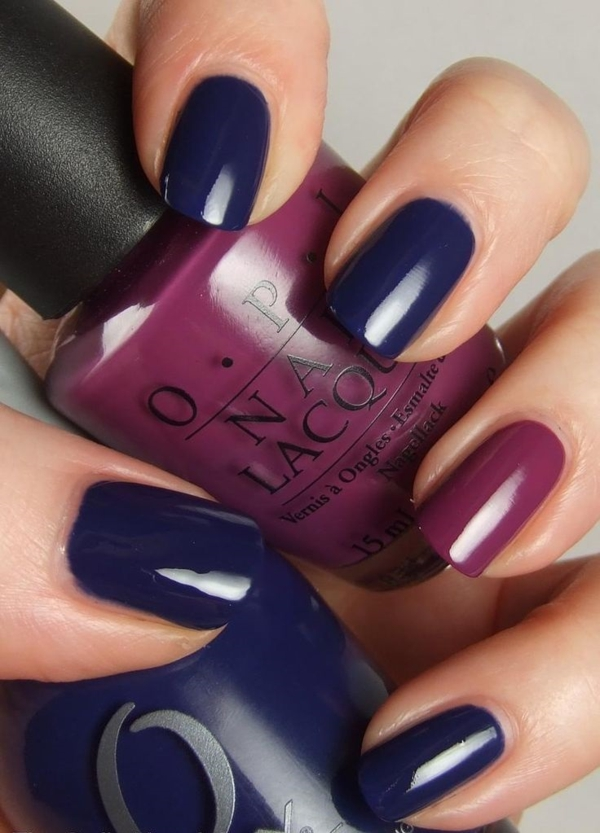 nägel lackieren dunkelblau  nagellack design