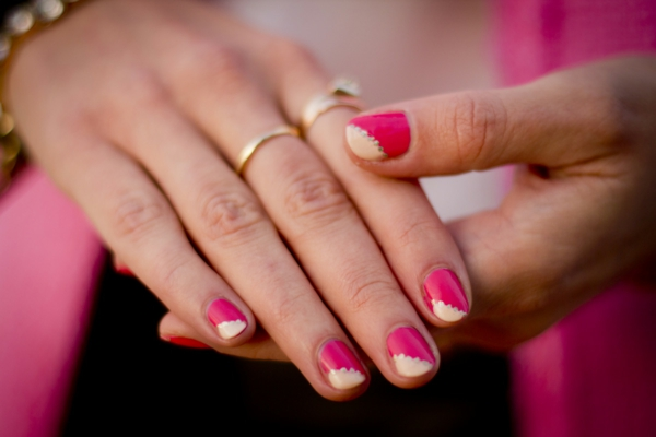 nageldesign bilder pink gold