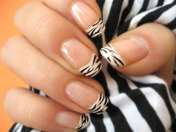 french nails mit zebra design - French Nagel Muster
