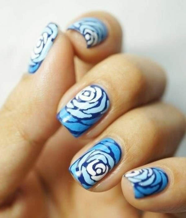 nagel design bildergalerie nail art blumenmuster rose