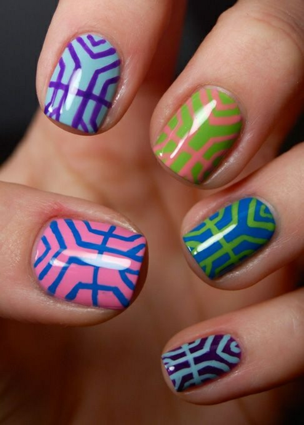 nageldesign bildergalerie nail art design mehrfarbig