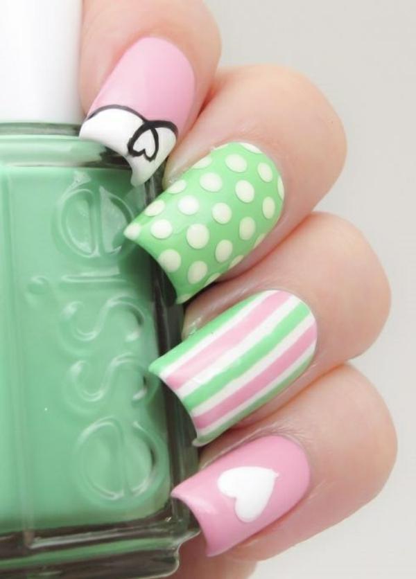 nagel design bildergalerie nail art design pastellfarben herzen pünkte