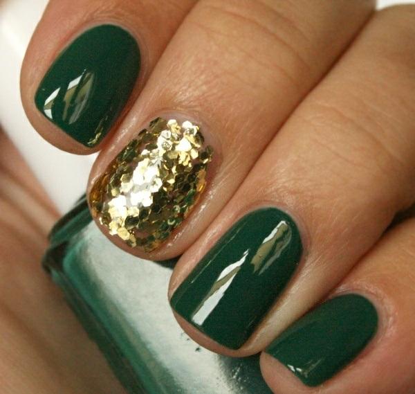nageldesign bildergalerie nail art grün gold