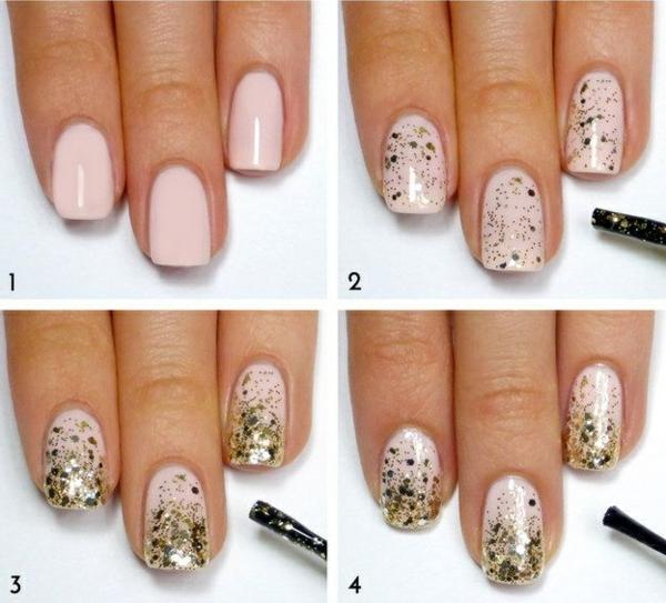 nageldesign bildergalerie nail art ideen glitzer gold