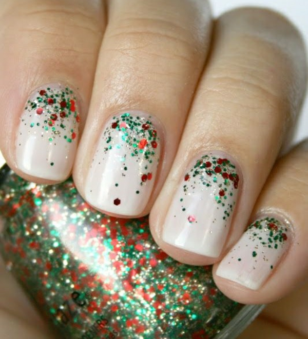 nagel design bildergalerie nail art weihnachten glitzer nagellack