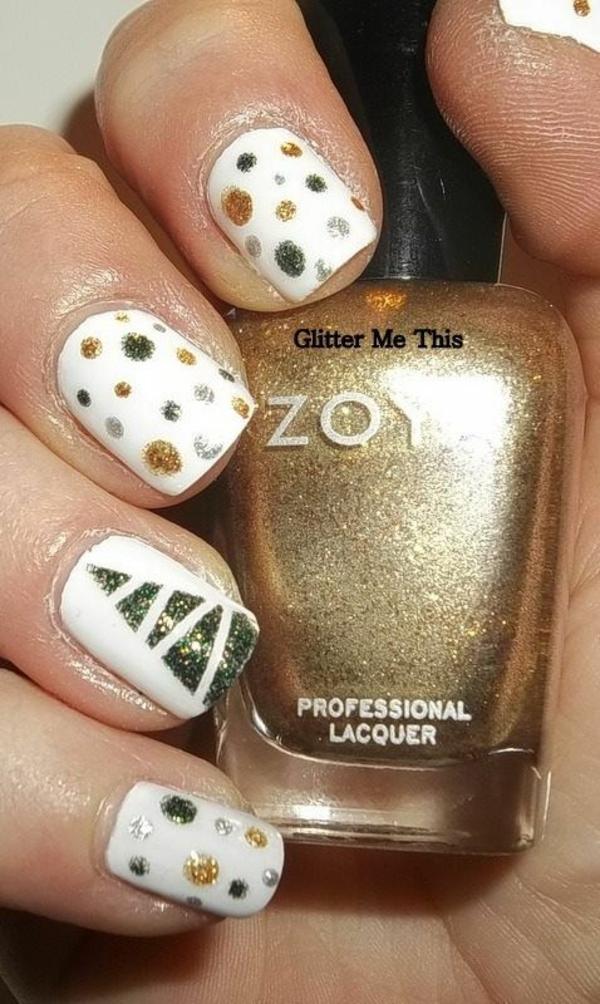 nagel design bildergalerie nail art weihnachten goldakzente