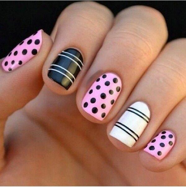 nageldesigns bilder nail art schwarz weiß
