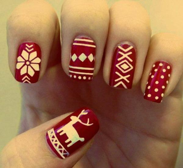 nagel design bilder nail art weihnachten rot weiß muster