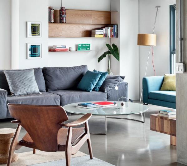 naturholz glas tischplatte rund couch möbel wohnzimmer