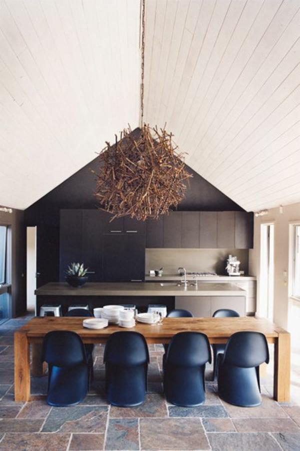 panton chair dunkelblau designer stühle skandinavisches design