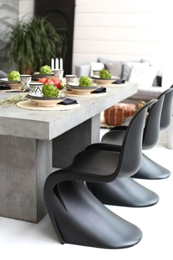 panton stuhl esszimmer möbel designer stühle beton tisch